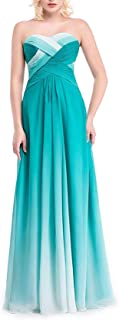 Fashion Elf Skirt Women Ombre Chiffon Prom Bridesmaid Dresses Gradient Pageant Formal Gowns