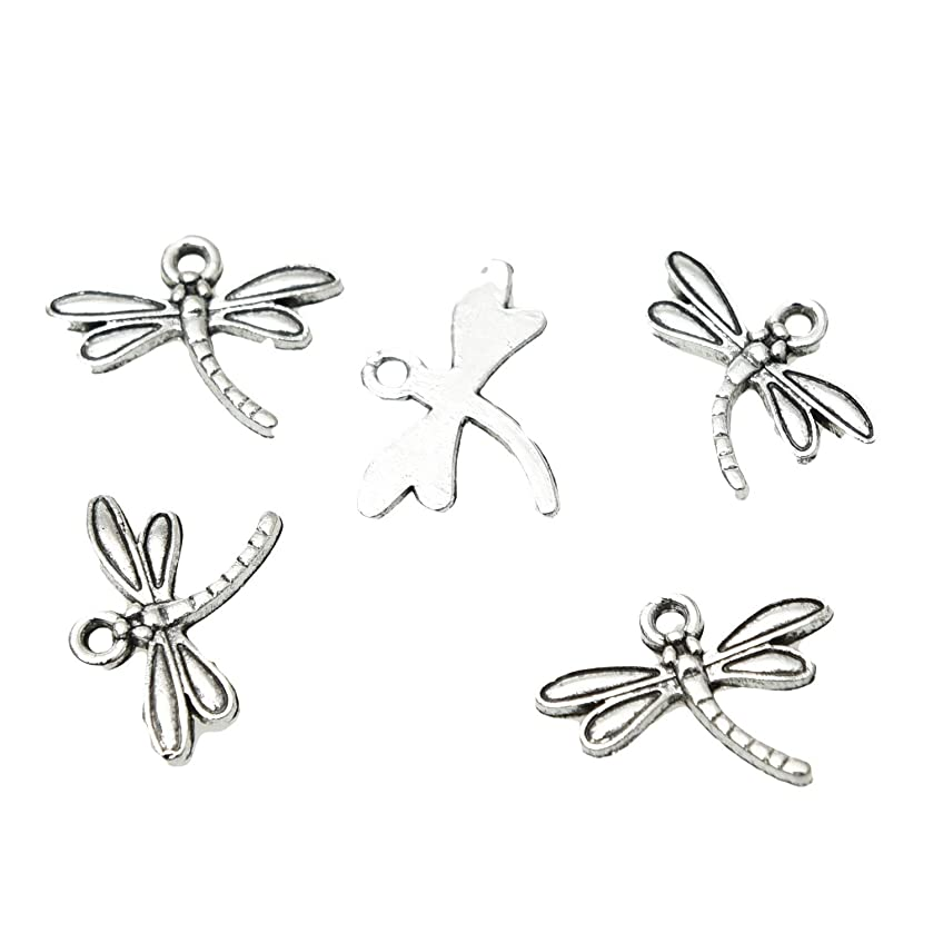 Monrocco 100Pcs Antiqued Silver Dragonfly Charm Pendants Alloy Pendant for Jewelry Making and Crafting