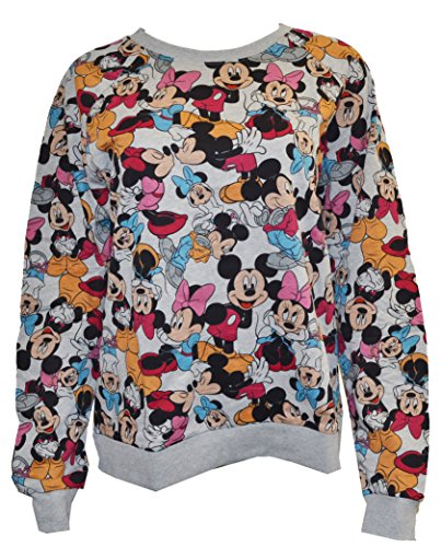 Disney Women's Plus Size Mickey & Minnie All Over Print Pullover Sweater (2X)