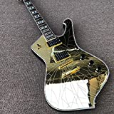 Lztly Electric Guitar 6 String Electric Guitar Special Shaped Guitar Golden Mirror Black Paint Inlaid Fixed Bridge Beginner Guitars (Color : Guitar, Size : 41 inches)