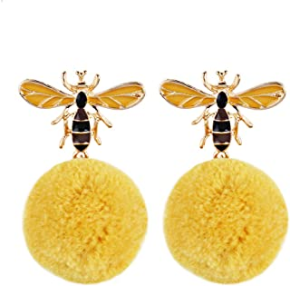 a56922b10 Jewelry-Box Women Winter Lovely Bee Pompom Faux Fur Round Ball Pear Ear  Plug Party