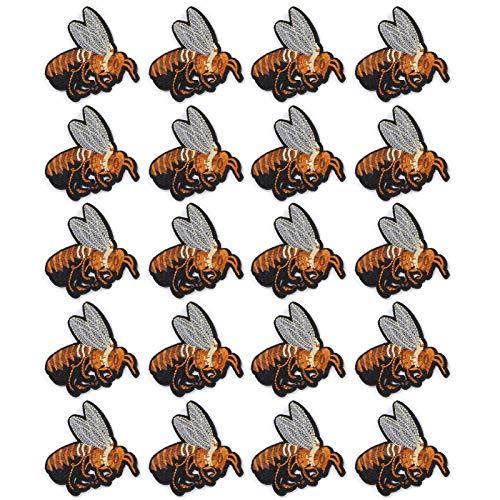 Cikonielf 20 pièces Habiller Applique Broderie Tissu Patchs Abeille Brune Bricolage Repassage Patch Accessoires de noël