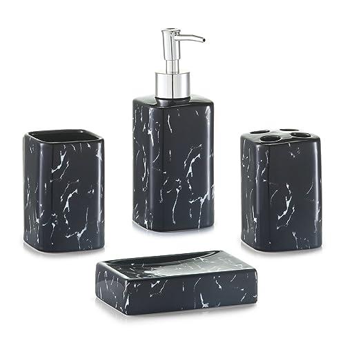 Zeller 18283 Ensemble d'accessoires Bain Look de marbre 4pcs. en céramique Noir, 20 x 25 x 28 cm