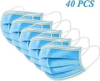 40 máscaras faciales – 3 Capas de protección contra el Polvo máscaras sanitarias con Bucle elástico y Clip para la Nariz