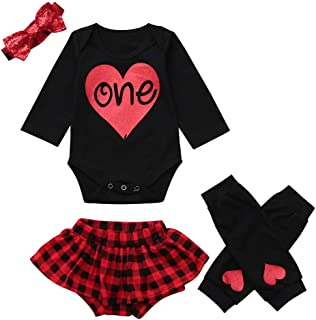 f15a1f4c5344 NUWFOR Infant Baby Letter Romper Jumpsuit +Leg Warmers+Headband+Plaid  Shorts Outfit Set