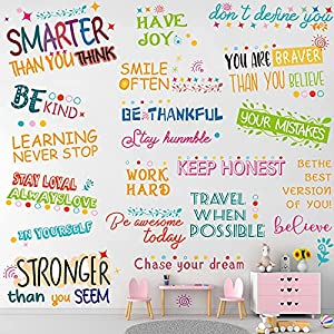2 pieces colorful inspirational sayings decals motivational quotes wall stickers colorful lettering wall decals youre braver than you believe positive wall decors for living room classroom