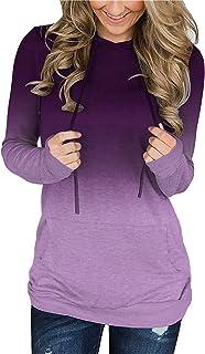 Womens Hoodie Sweatshirts Casual Tunic Tops Long Sleeve Tie Dye Shirts with Pockets