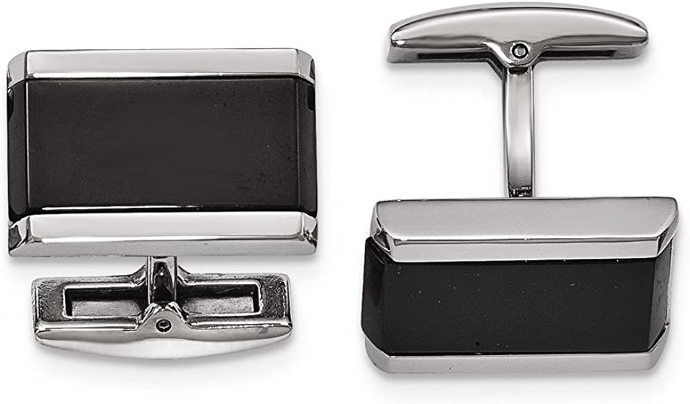 Chisel Stainless Steel Polished Black Onyx Rectangle Cuff Links