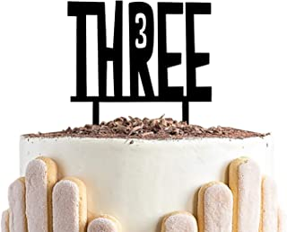 Three Birthday CakeTopper, 3rd Year Old Birthday Sign,Black Number 3 Birthday Wedding Party Decorations
