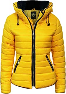 Womens Yellow Mustard Quilted Padded Puffer Bubble Collar Warm Thick Jacket Coat