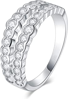BORUO 925 纯银戒指,方晶锆石婚戒可叠放戒指 4mm 尺寸 4-12