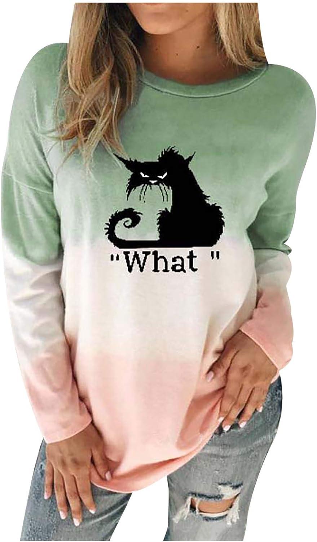 Sweatshirts for Women Plus Size, Women's Casual Long Sleeve Crewneck Tie Dye Tops Loose Oversized Pullover Fall Tops