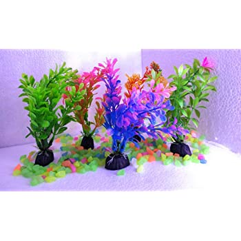 The Big Fish Beautiful Aquarium Multicolour Plants for Home Fishes Tank Decoration (Set of 5)