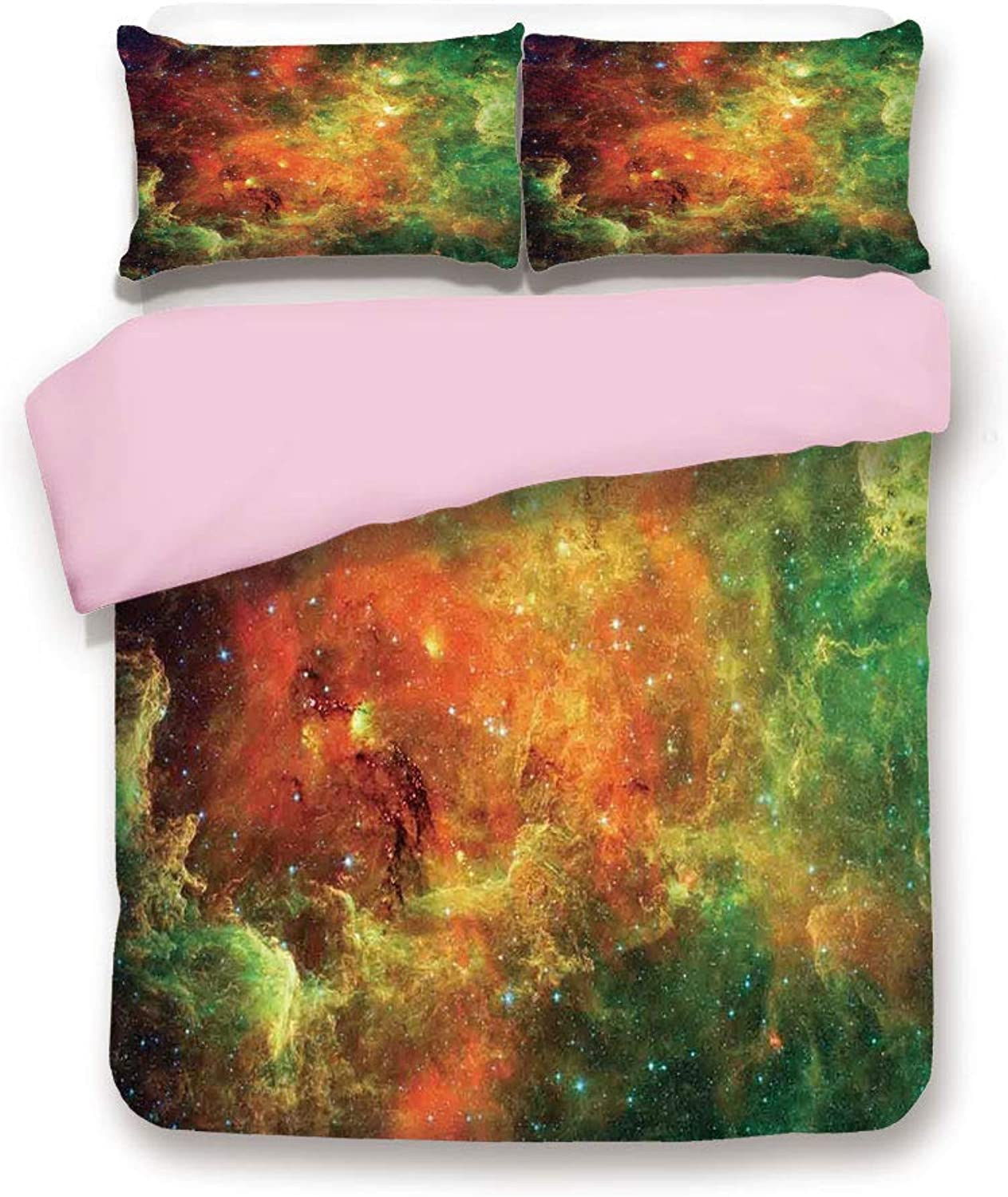 Pink Duvet Cover Set,Twin Size,North American and Pelican Nebula Gas Cosmic Planetary Object in Outer Space Decor,Decorative 3 Piece Bedding Set with 2 Pillow Sham,Best Gift For Girls Women,orange Gre