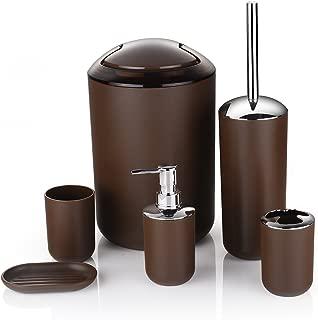Zuvo 6 Pcs Plastic Bathroom Accessory Set Luxury Bath Accessories Bath Set Lotion Bottles, Toothbrush Holder, Tooth Mug, Soap Dish, Toilet Brush, Trash Can, Rubbish Bin (Brown)