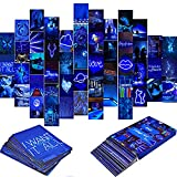 Blue Neon Wall Collage Kit Aesthetic Pictures, 50PCS Indie Room Decor for Teen Girls Boys and Young Adults Bedroom Wall Posters, Cool Photo Dorm Decorations, Trendy Asthetic Wall Images with 4x6''