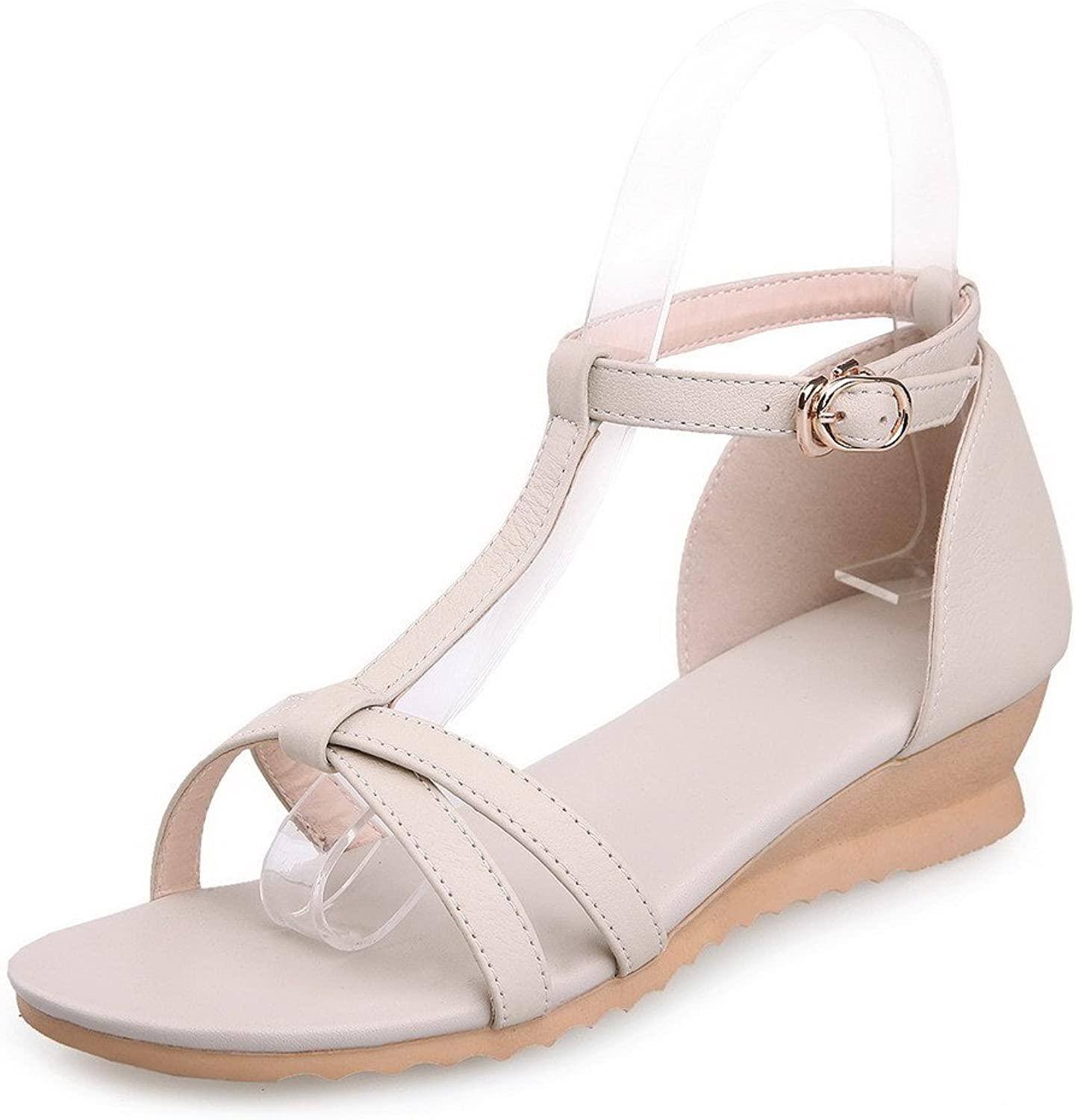 AmoonyFashion Women's Buckle Low-Heels Cowhide Solid Open Toe Wedges-Sandals