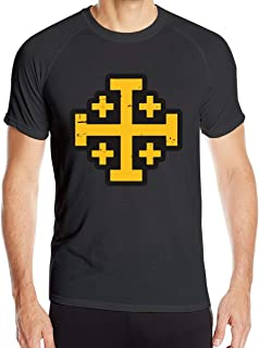 Crusader Cross of Jerusalem Men's Quick Dry Short Sleeve T-Shirt Moisture Wicking Athletic T-Shirt