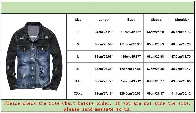 RIZI Jean Boyfriend Jacket for Men with Deep Pockets Regular Fit Classic Ripped Denim Dress Coat Button Down Trucker Shirts