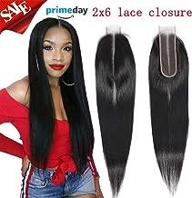 Brazilian Virgin Straight Human Hair Middle Part Lace Closure 2x6 Deep Part Lace Closure Straight Human Hair Natural Colo(16 Inch, 2x6 closure)