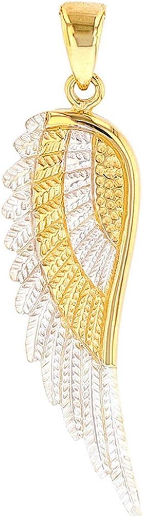 JewelryAmerica Solid 14k Yellow Gold Textured Angel Wing Charm Pendant
