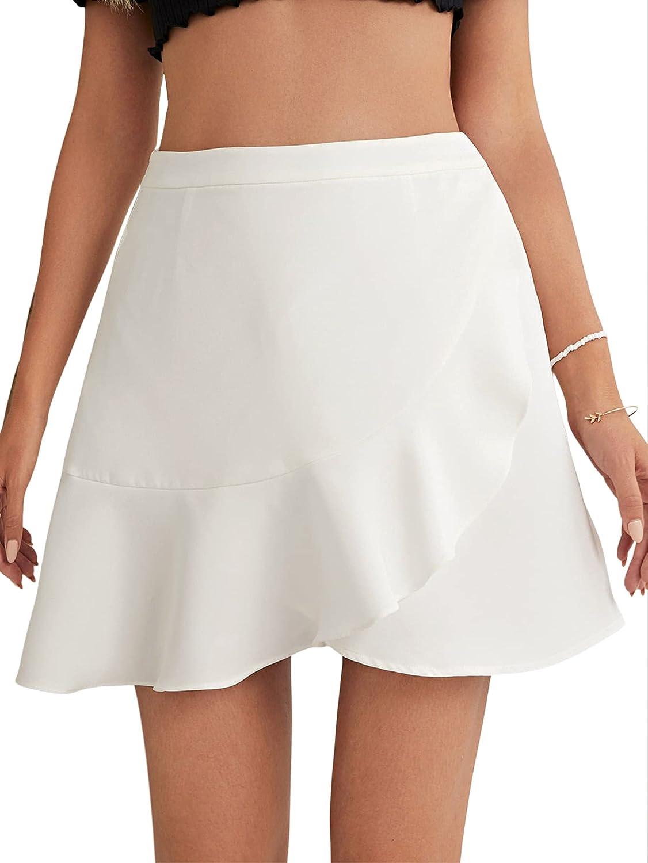 SheIn Women's Wrap Tie Side Ruffle Trim High Waist Plaid Short Mini Skirt