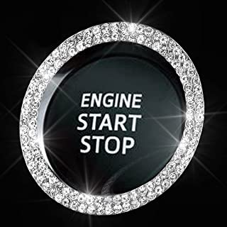 Bling Car Crystal Rhinestone Ring Emblem Sticker, Car Interior Decoration, Bling Car Accessories for Women, Push to Start Button, Key Ignition Starter & Knob Ring (Silver, 2 Row Rhinestones)