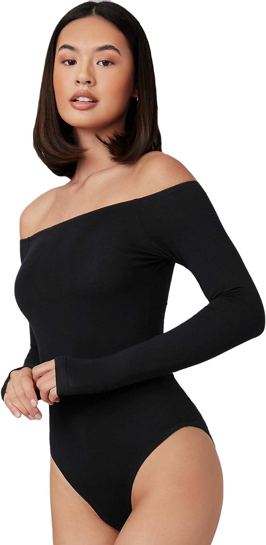 Verdusa Women's Basic Off Shoulder Long Sleeve Bodycon Leotard Tee Bodysuit
