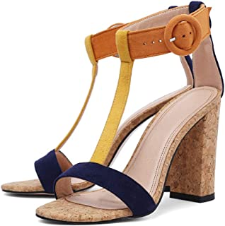 Women's Summer T-Shaped Wood-Tone Buckle Block Suede Open Toe Heel Pump Sandals