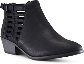 MARCOREPUBLIC Marco Republic Pristina Women's Almond Toe Chunky Block Stacked Heels Low Ankle Bootie Boots - (Black NB - Black Heels) - 5