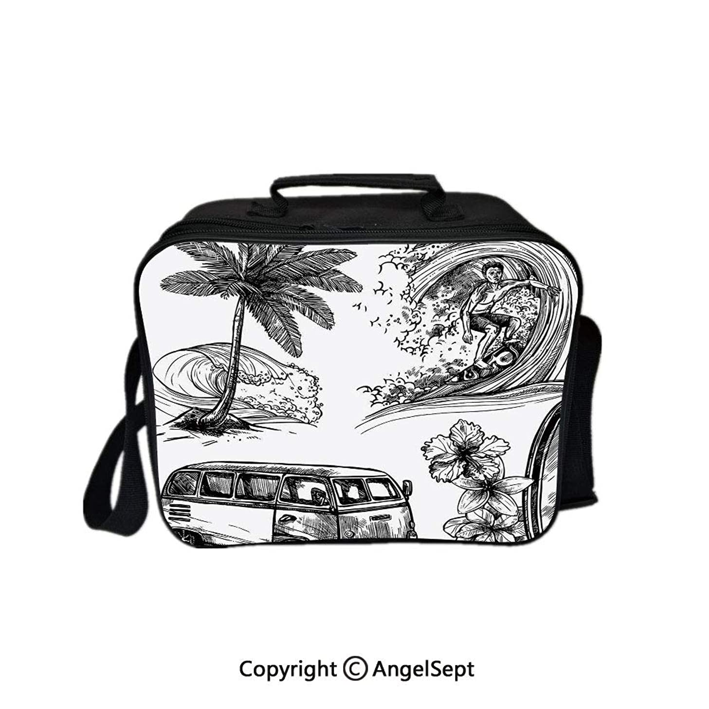 Hot Sale Lunch Container,Surfing Sport Surfboard Beach and Van Sketch Style Decorative Monochromic Illustration Black White 8.3inch,Lunch Bag Large Cooler Tote Bag For Men, Women