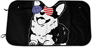 CHILL·TEK Corgi American Flag Sunglasses Universal Durable Windshield Sunshade for Any Vehicle Foldable Size 51.2x27.5 Inch
