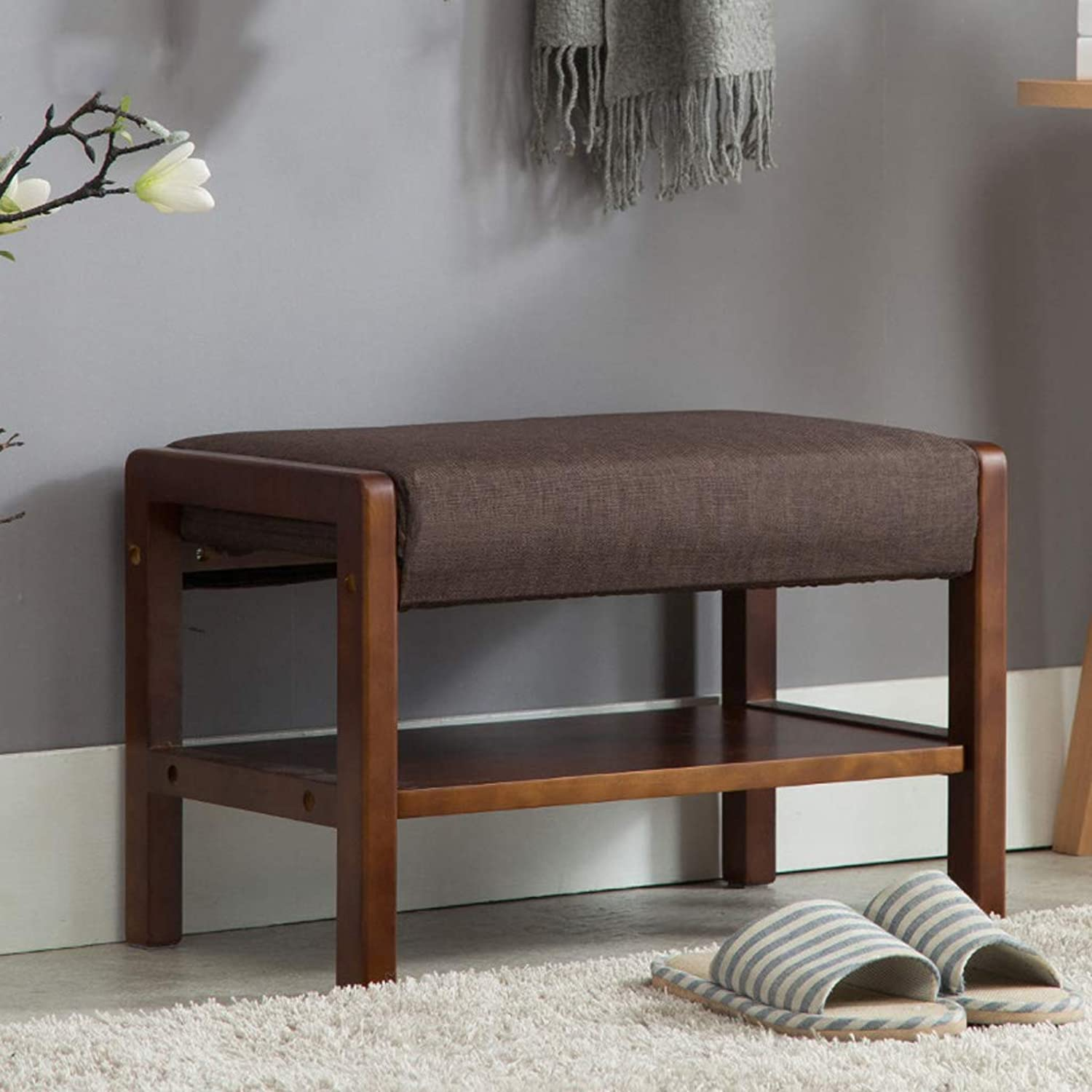 CIGONG Change shoes Stool Storage Stool Simple Solid Wood shoes Rack Fabric Door shoes Bench 54.5x32x25cm Wooden Bench (color   Brown)