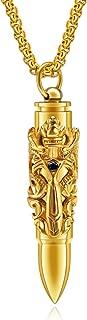 Dragon Sword Bullet Shape Canister Capsule Memorial Keepsake Pendant Cremation Ash Urn Necklace for Men