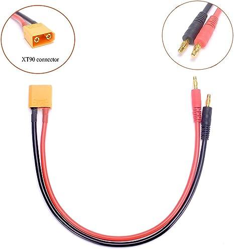 FLY RC 2pcs EC3 Conector Macho a enchufes Tipo Banana de 4 mm Cargador de batería Adaptador de Plomo Cable de Silicona 14awg 30cm 11.8inch (ec3 câble ...