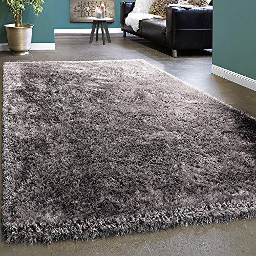 Paco Home Edler Teppich Shaggy Hochflor Einfarbig Flauschig Glänzend In Grau Hellgrau, Grösse:240x340 cm