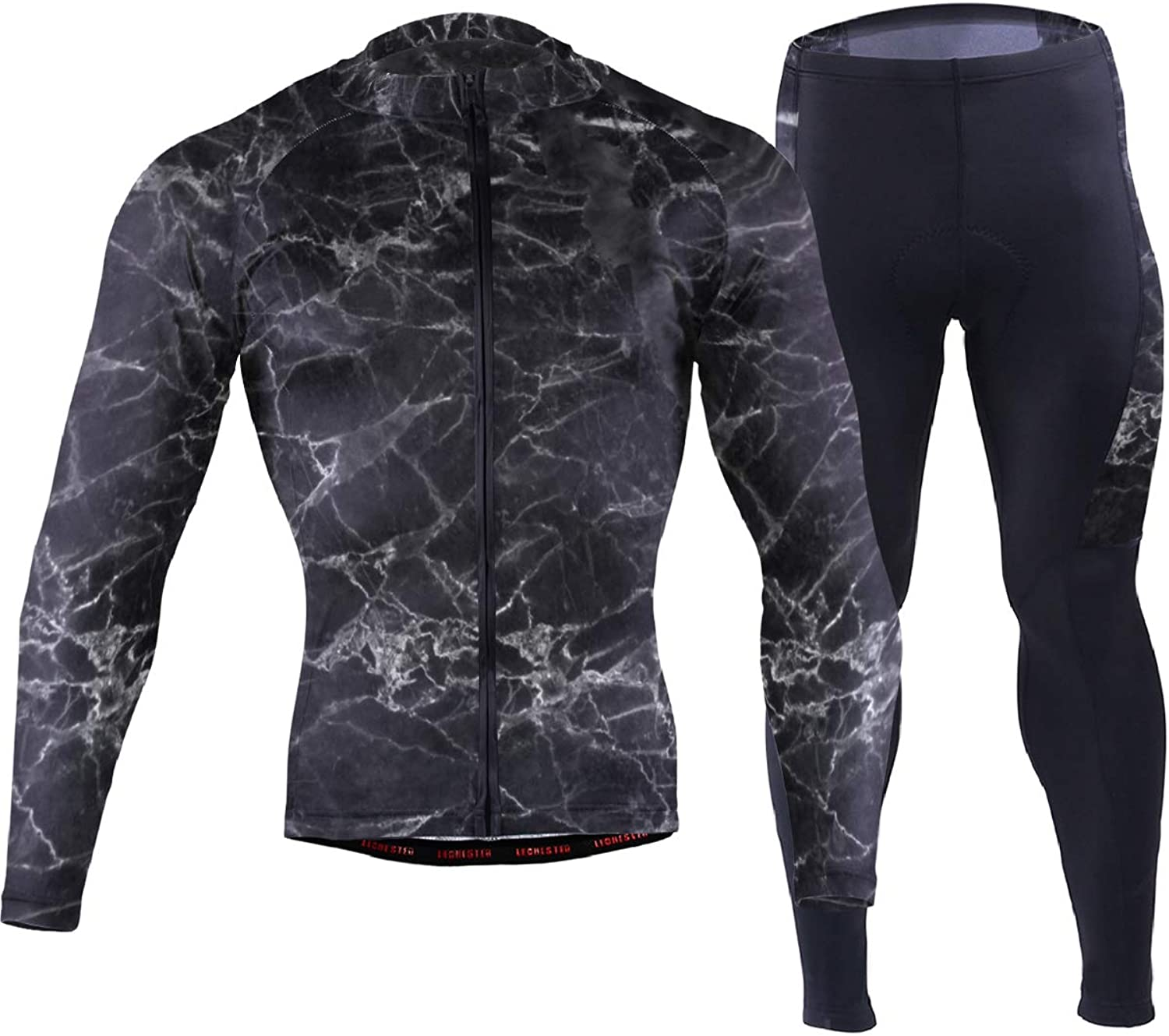 FAJRO Awesome Black Marble Sportswear Suit Bike Outfit Set Breathable Quick Dry 3D Padded Pants