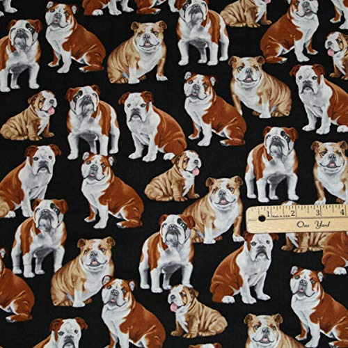 BY THE 1/2 Yard | Bulldog English American French Dogs Dog Cotton Fabric 1/2 Yard for any sewing project | Damien Linn