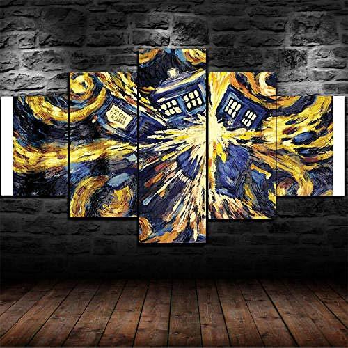 Cuadro Sobre Lienzo 5 Piezas Impresión En Lienzo Ancho: 150Cm, Altura: 100Cm Listo Para Colgar-Doctor Who Vincent Van Gogh Pintura En Un Marco
