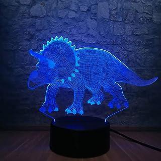 Veilleuses 3D Dinosaure Veilleuse Atmosphère 7 Changement De Couleur Illusion Décor De Chevet Chambre Lampe De Sommeil Gar...