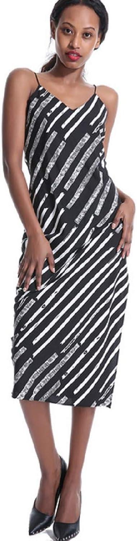 Womens Summer Boho Sling V Neck Striped Sleeveless Tie Waist Swing Midi Dress