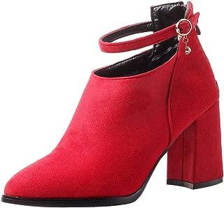 FANIMILA Women Block Heels Mid Calf Boots Lace Up Martin Boots