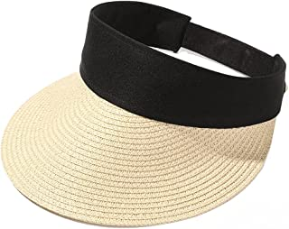XZJJZ Summer New Empty Top Suncap Foldable Portable Roll-up Beach Hat Wide Brim Sun Hat Fashion Casual Straw Cap Visors fo...