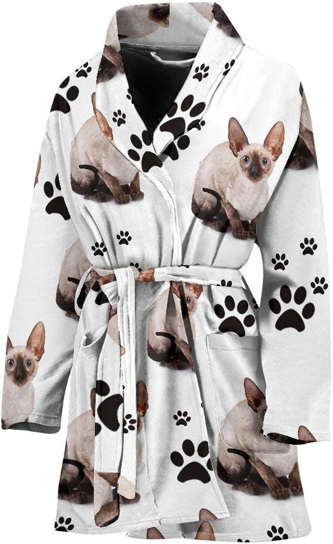 Deruj Cornish Rex Cat Print Women's Bath Robe