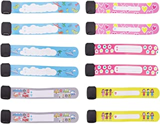 OBTANIM 12 Pcs Child Safety ID Wristband Reusable & Waterproof Safety ID Bracelets Anti-Lost Child Travel ID Bands for Children Field Trip, Outdoor Activity
