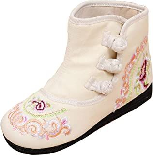 Fulision Girls Embroidered Boot Buckle Strap Shoes Tendon Bottom Cotton Booties