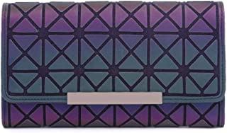 Magibag Women Geometric Rhomboids Lattice Wallet Iridescent Purse Long Coin Purse Clutch Cell Phone Case (Trifold-Square)