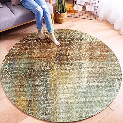 WUCHONGDITAN rond tapijt, antislip, zacht, modern, abstract, geometrisch, eenvoudige cirkels, kunstdruk, voor bank, woonkamer, slaapkamer, wastafel, voetkussen diameter 140cm/4.6 ft