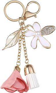 Fenical nappa, portachiavi con ciondolo a forma di fiore con foglie per chiavi, borse, portafogli, zaini, accessori (rosa)