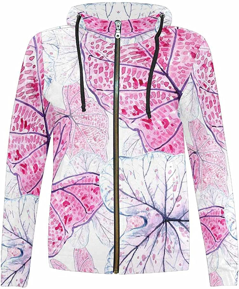 Deluxe Fees free InterestPrint Watercolor Cherry Pattern Swea Stand Collar Hooded